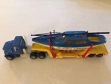 Rare Vintage Majorette 1/60 Tractor Trailer Truck Boat Transporter Blue Waters