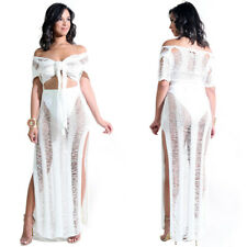 Women V Neck Lace Up Crop Tops Ripped See Through High Slit Beach Maxi Dress