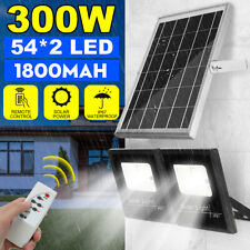 300W 54*2LED Solar Powered Flood Light Outdoor Garden Security Flood Lamp+Remote