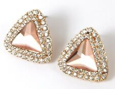 Women's Gold tone Champagne and clear crystal Stud Triangle Earrings Jewellery