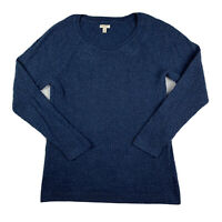 Sonoma Life + Style Women Large Knit Sweater Cotton Top Scoop Neck Navy Blue