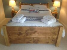 BRAND NEW SOLID WOOD RUSTIC CHUNKY KINGSIZE PLANK 5' WOODEN BED