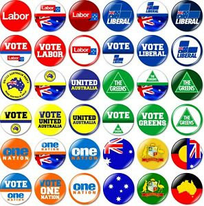 1 x Australian Federal Election 32mm BUTTON PIN BADGE Australia Party Vote State