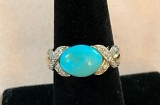 14k Yellow Gold Turquoise and Diamond Ring Size 7 4.2g