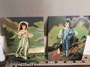 Pinky Blue Boy Unframed Paint By Numbers PBN Large 16 X 12 Pair 1960s