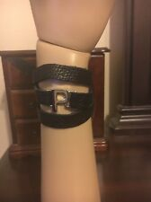 "Lisa Stewart Black Leather Wrap Bracelet With Silver Toned Initial ""P"""