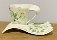 Vintage Lily of the Valley Creative wavy porcelain tea coffee cup and saucer set