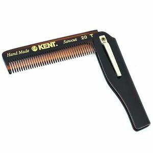 """Kent 20T 3 3/4"""" 100mm Fine Tooth Folding Comb with Pocket Clip. Sawcut"""