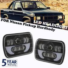 "Pair 5x7"" 7x6"" LED Headlights Hi-Lo DRL Angel Eyes For Nissan Pickup Hardbody"