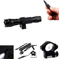 T6 LED Tactical Flashlight+Remote Switch+Picatinny Rail Mount for Rifle
