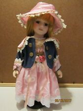 "12"" VICTORIAN Valentine Spring Doll in Pink Dress with Hat MINT IN BOX PORCELAIN"