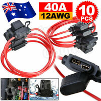 10 Pcs 12V 40A Standard Blade Inline Fuse Holder with Waterproof Dustproof Cover