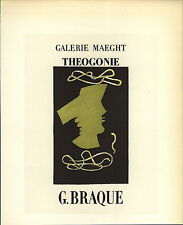 1959 Mini Poster Lithograph ORIGINAL Print Georges Braque Theoginie Maeght Gall