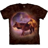 The Mountain 100% Cotton Adult Spirit of the Moon Wolves T-Shirt S-L-XL-3XL NWT