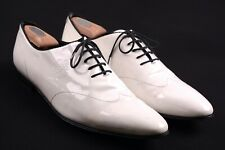 Gucci Made in ITALY White Black Patent Leather Wing Tip Oxford Dress Shoes 46 E