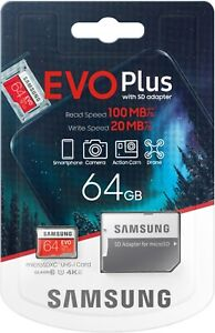 Samsung EVO Micro SD Memory Card 64GB for Galaxy S20 Ultra S10 S10+ S9 S9+ S8 S7