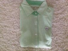 Kate Lord Green White Checkered New S Small Women Blouse 4 Four Bridges Logo