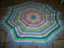 """STUNNING  HAND CROCHET BLANKET AFGHAN RUG OCTAGON SIZE 48"""" x 48"""" INCHES."""