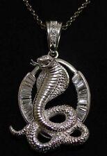 LOOK Massive King Cobra Snake Pendant 18K White Gold plated