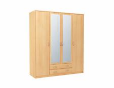 4 Door, 2 Drawer Wardrobe, with 2 Mirrors - Victoria SZ08 - New - Beech