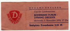 Ticket EC Dynamo Dresden - Bohemians Dublin 01.11.1978