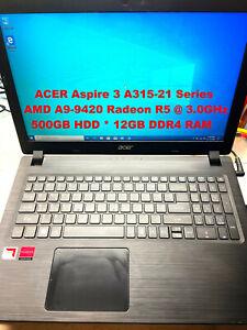 """ACER Aspire 3 A315-21_AMD A9-9420@3.0GHz_500GB HDD_12GB DDR4 RAM_15.6"""" Screen"""
