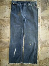 Vtg Wrangler Corduroy Pants 33x29 Distressed Blue Worn Patch Stitched Pockets