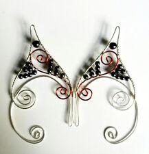 Handmade Red & Silver Plated Hematite Fantasy Ear Cuffs, Elf Earcuffs, Pixie Ear