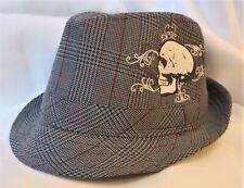 Fedora hat with skull, Granule unisex plaid pattern