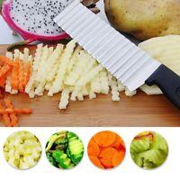 Stainless Steel Potato Chip Slicer Dough Vegetable Fruit Crinkle Wavy Slicer Kni