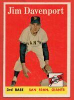1958 Topps #413 Jim Davenport NEAR MINT+ Rookie RC San Francisco Giants FREE S/H
