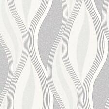 Ondas Brillo Gris Plateado Blanco Calidad con textura de papel tapiz de pared característica de vinilo
