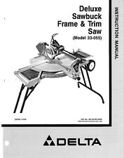 Delta 33-055 Deluxe Sawbuck Frame Trim Saw Instructions Manual