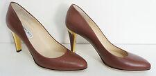 Jimmy CHOO Mid in Pelle Nappa Marrone corte scarpa con tacco d'Oro-Taglia UK 6 1/2 (39 1/2)