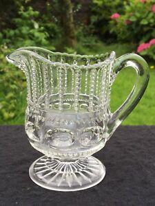 Antique 1899 Co- Operative Paneled Flint Glass small milk jug EAPG Thumbprint