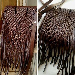 Vintage Moroccan Tan Woven Leather Craft Fringed Tassel Boho Hippie Shoulder Bag