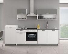 Küche ROUTE 2 270 Küchenzeile Küchenblock Einbauküche Singleküche Weiss + Grau