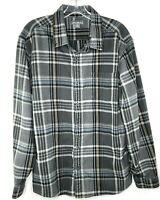 Eddie Bauer Flannel Shirt Men's Long Sleeve Button Down Plaid Top Gray Size XL