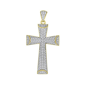 Yellow-tone 925 Sterling Silver Mens Round Cubic Zirconia CZ Cross Cluster Fashi
