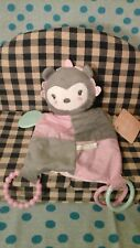 New Modern Baby Teether Rattle Security Blanket Lovey gray pink green owl