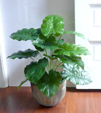 "18 Leaves Artificial Plants Bush 20"" Tall Wild Taro Grass"