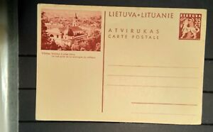 1926 Lietuva Lithuania 1mint unused pre printed postcard Vilnius vaizdas is pili