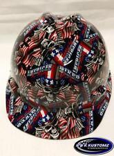 New Custom MSA V-Gard (Short Brim) Hard Hat W/FasTrac American Biker Pattern
