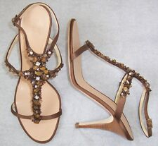 GIUSEPPE ZANOTTI Brown Satin Crystal Bead Embellished Sandals Shoes 39.5