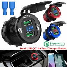 12V/24V Doble USB Cargador de Coche Moto 6A Zócalo Adaptador De Corriente LED Voltímetro