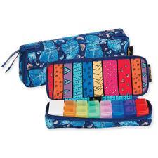 Laurel Burch Indigo Cats Quilted Cotton Blue Zip 7 Day Pill Organizer Bag