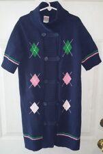 Gymboree Smart Girls Rule 10 12 Blue Button Front DUSTER Argyle Print Cardigan