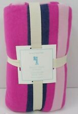 Pottery Barn Kids Bright Stripe Blanket Full Queen Pink Navy Blue #118