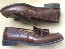 Johnston & Murphy Domani Mahogany Leather Tassel Loafers Men's 10 M Italian made