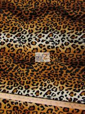 "VELBOA FAUX FAKE FUR LEOPARD ANIMAL SHORT PILE FABRIC - Gold - 58""/60"" WIDTH"